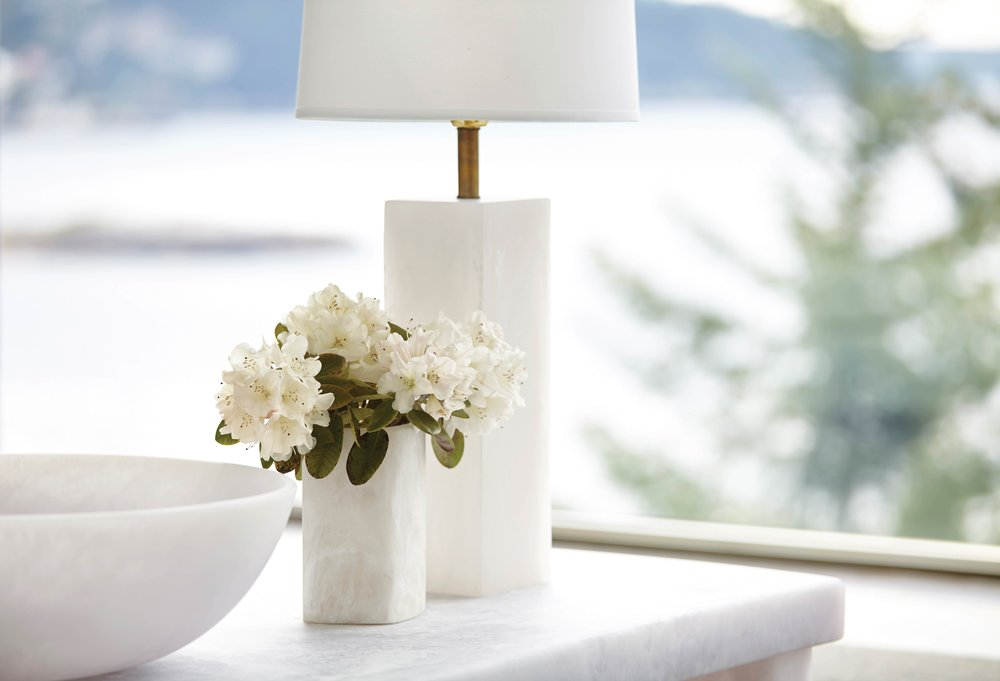 Whistler Round Lamp, Keats Vase, and Pacific Bowl in Sturdy's West Vancouver home.Photography by Raeff Miles