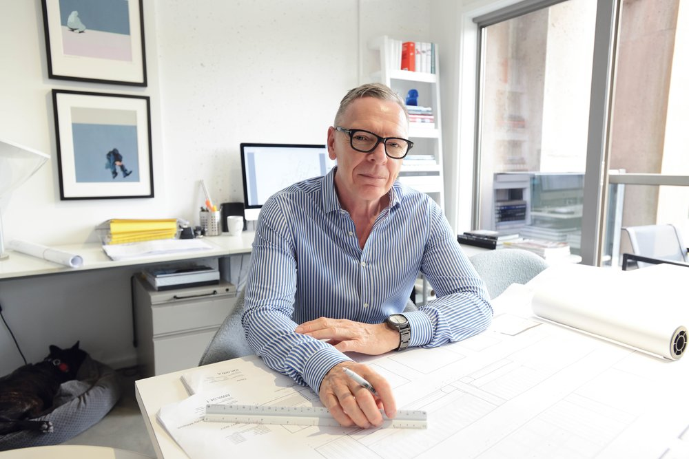 Award-winning designer Robert Bailey works at his studio in Vancouver.Photography by Hugh Zhao