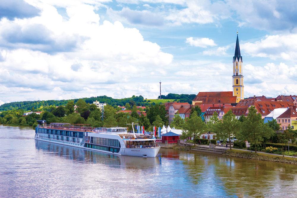 AmaWaterways' AmaStella river cruise ship on the Rhine.AmaWaterways