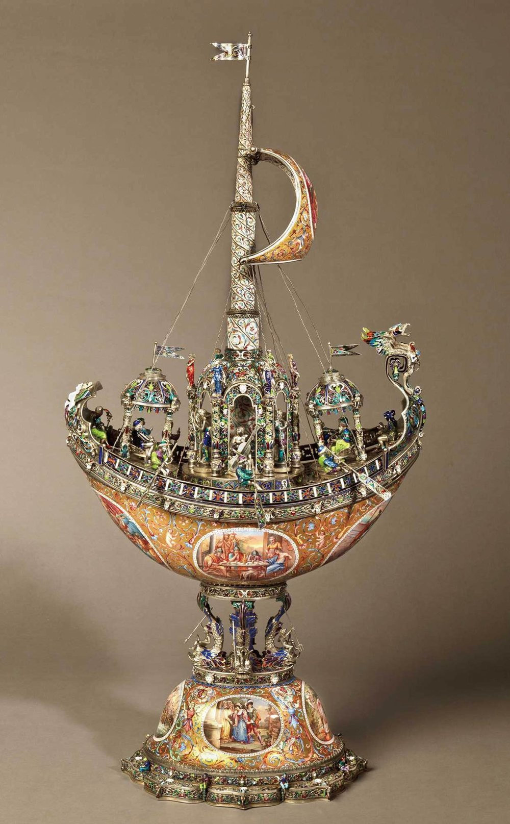 19th-Century Viennese Nef of Silver and Enamel by Hermann Böhm