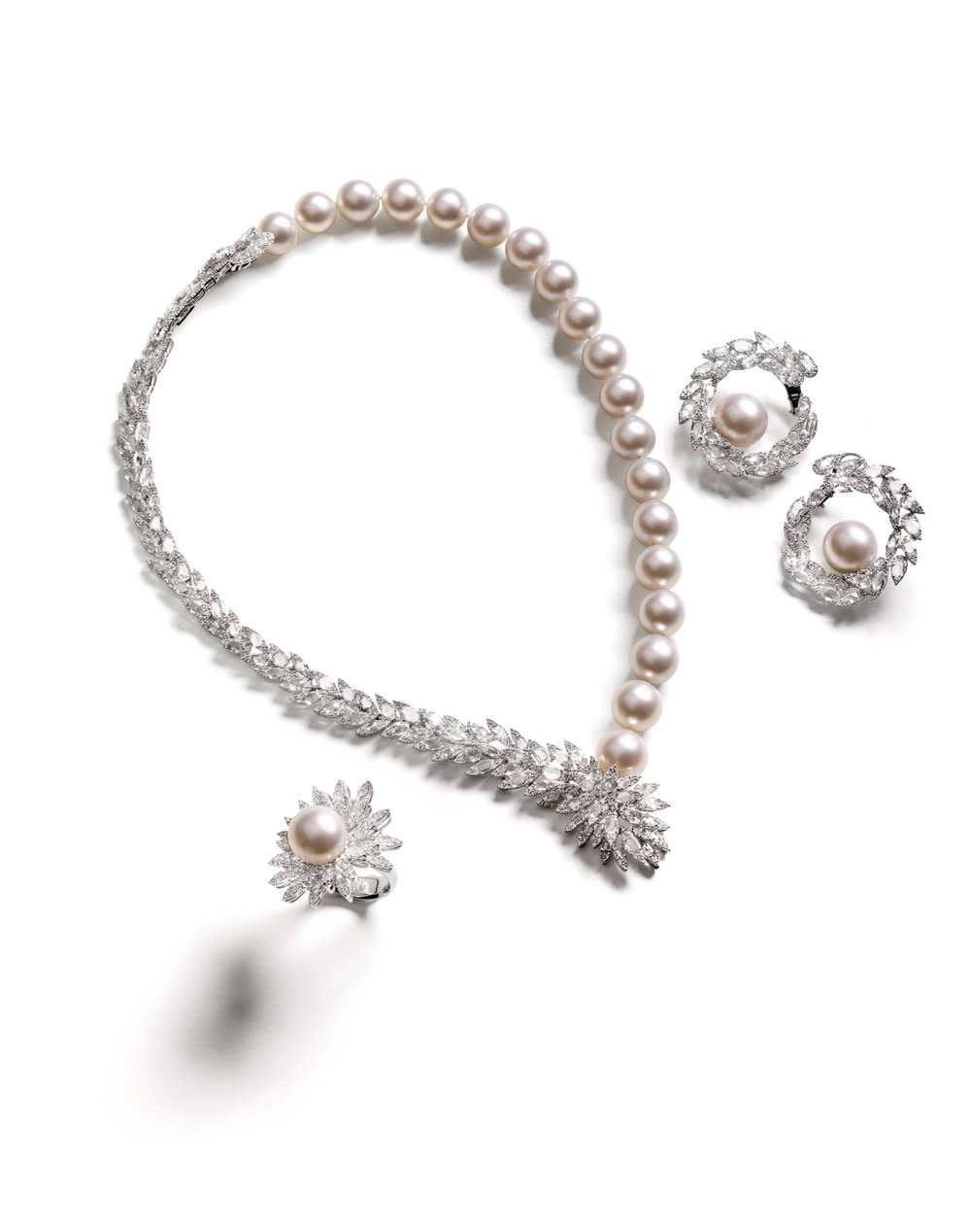 Utopia Parure Pearls and Diamonds set by Palladio Jewellers