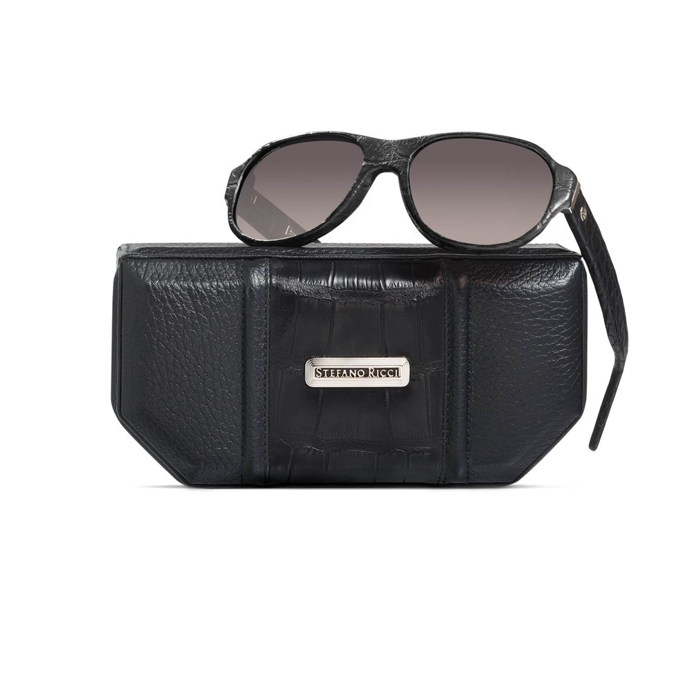 Hand Stitched Crocodile Leather Sunglasses by Stefano Ricci