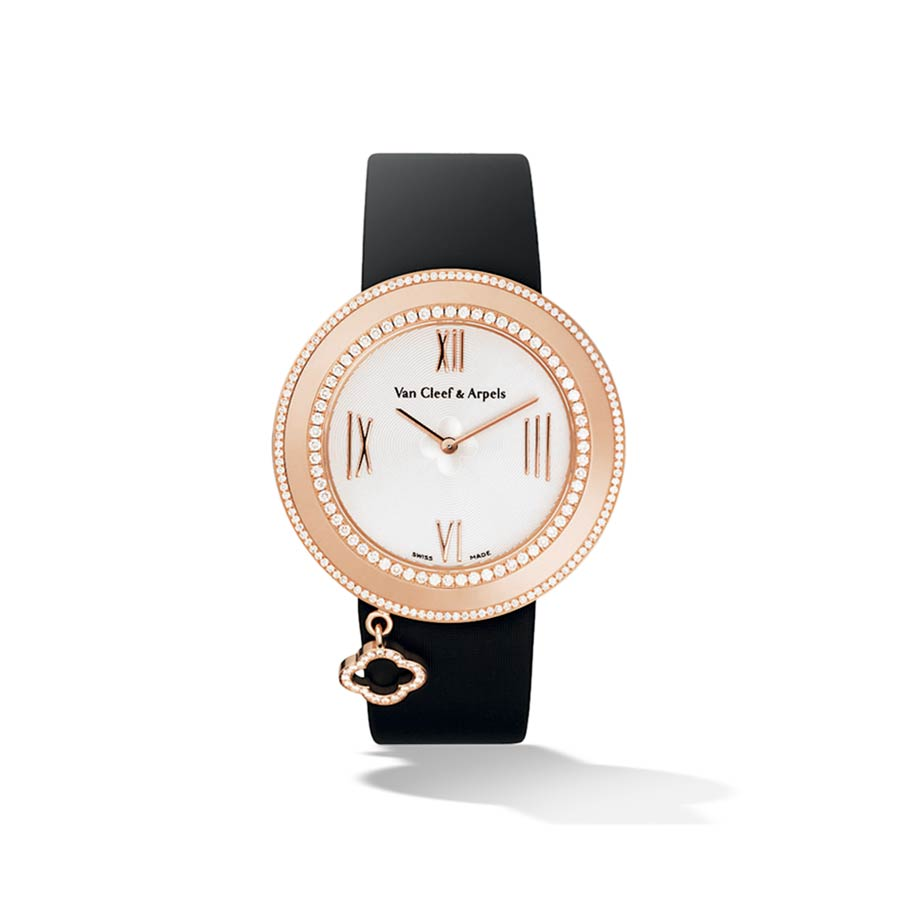 Pink Gold Diamond Charm Watch 38mm by Van Cleefs & Arpels