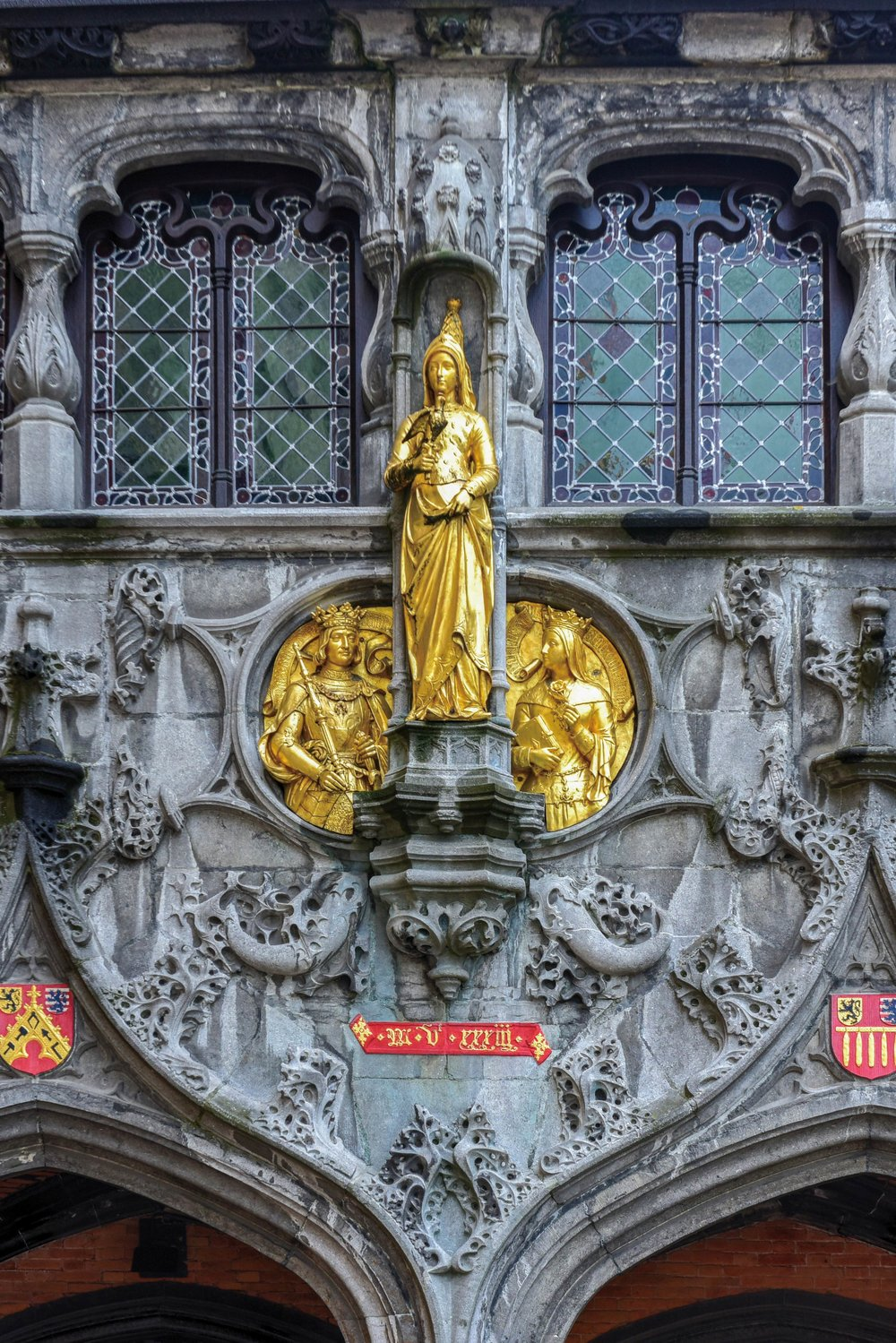 Gold-gilded statues adorn the Basilica of the Holy Blood. Felix Lipov / Shutterstock.com;