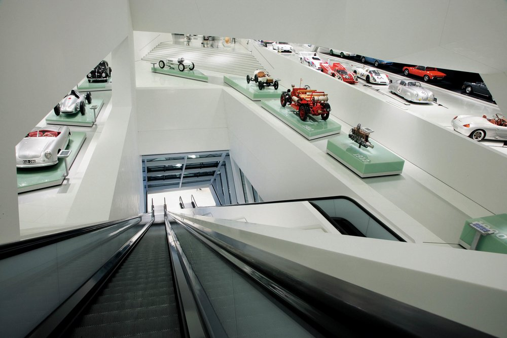 """""""The Prologue — Porsche before 1948"""" exhibition area at the Porsche Museum in Stuttgart, Germany."""