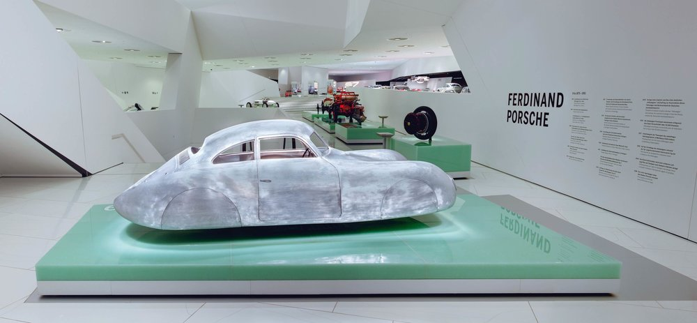 The Type 64 welcomes you at the beginning of the Porsche Museum.
