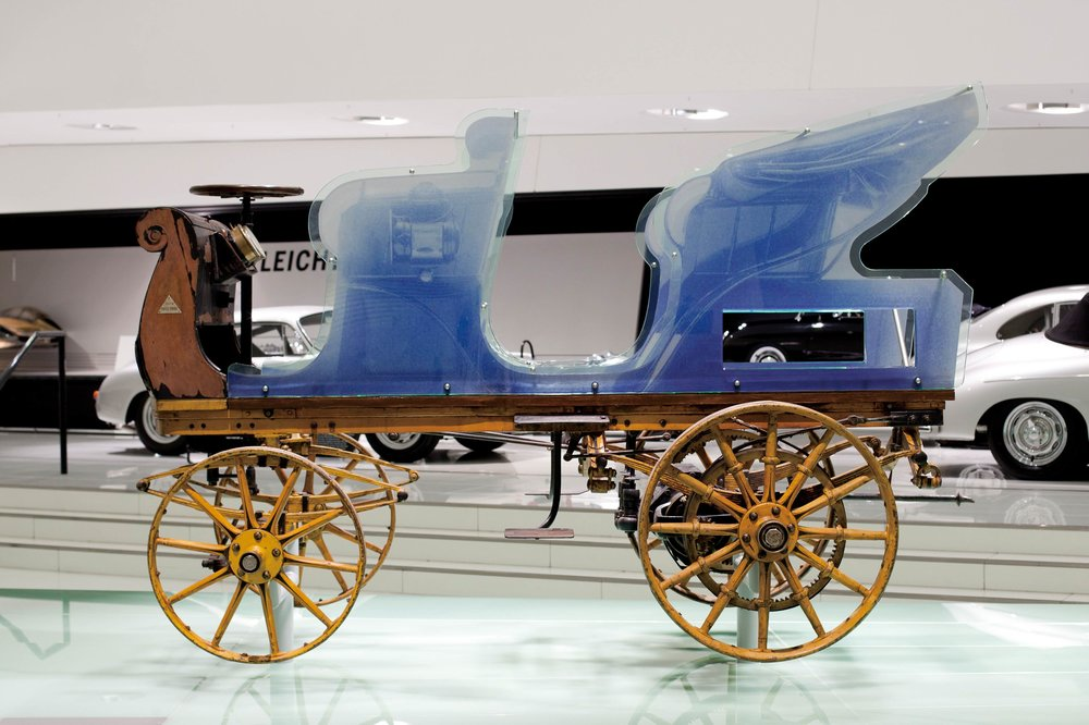 The first design of Ferdinand Porsche from 1898, on display at the Porsche Museum since 2014.