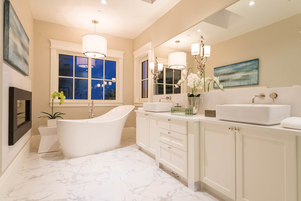 The master bath with an angled slipper tub as the room's focal point.