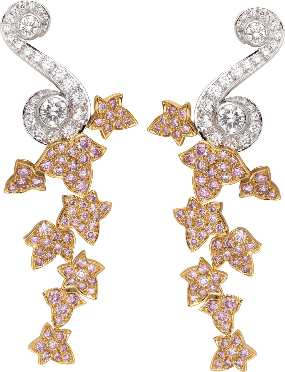 "18k White and Rose Gold ""Jardin des Délices"" Earrings Featuring Pink and White Diamonds by Van Cleef & Arpels"