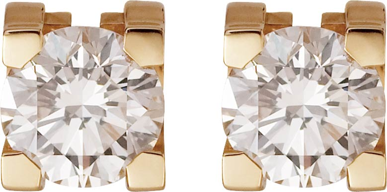 18k Yellow-Gold C de Cartier with Brilliant-Cut Diamond Earrings by Cartier