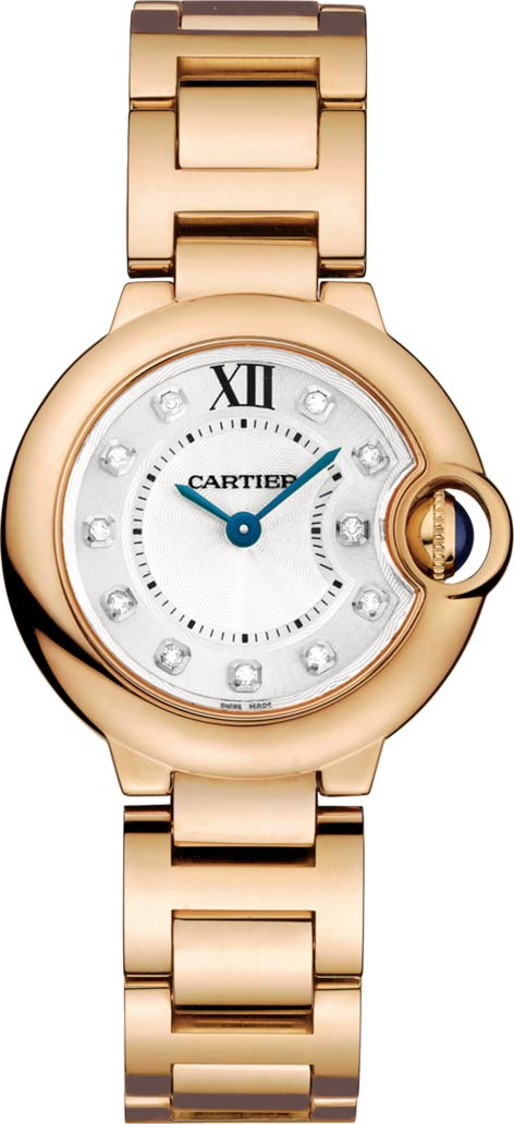 18k Pink Gold, Diamonds Ballon Bleu de Cartier Watch 28mm by Cartier