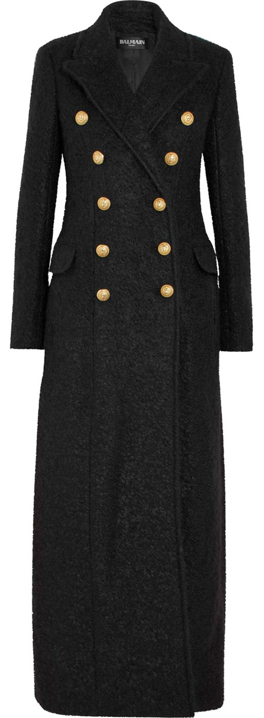 Double-Breasted Mohair-Blend Bouclé Coat by Balmain