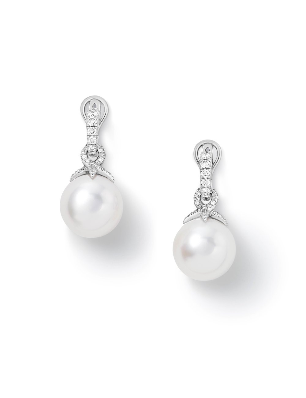 High Jewellery Pearl and Diamond Twist Drop in 750 White Gold Earrings by David Yurman