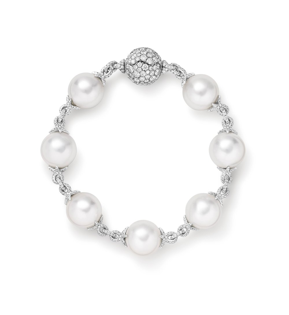 High Jewellery Pearl and Diamonds Twist Chain in 750 White Gold Bracelet by David Yurman