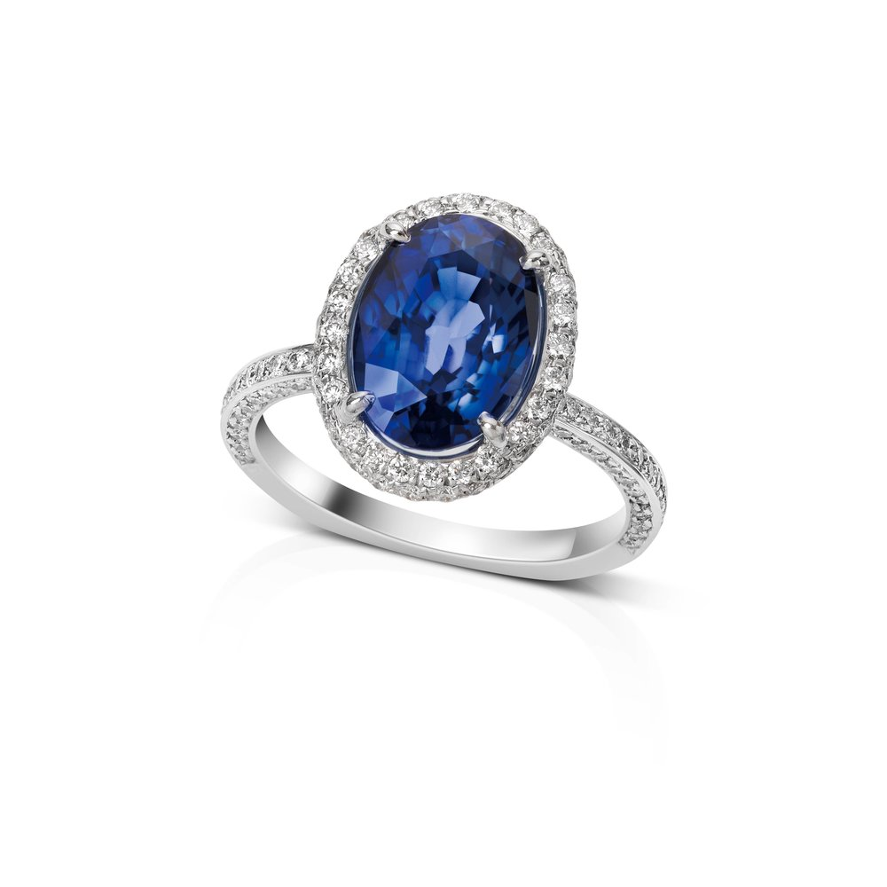 18k White Gold Diamond Halo Large Sapphire Stone Ring by Royal de Versailles
