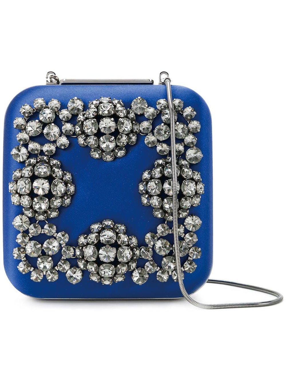 Hangi Blue Satin Square Jewelled Clutch by Manolo Blahnik