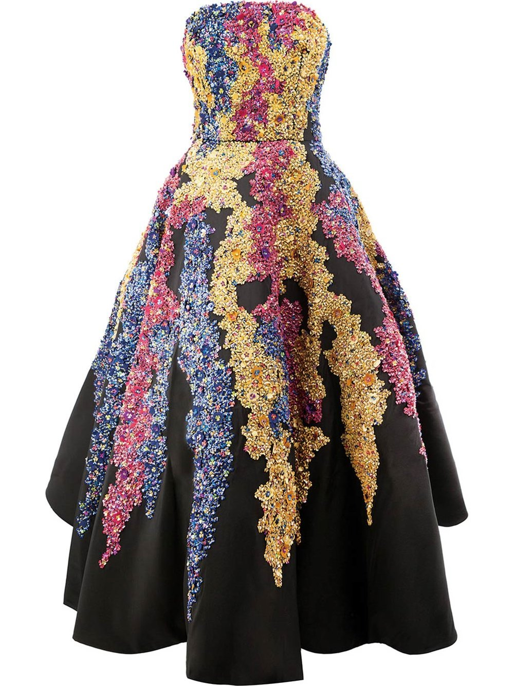 Tendrils Embroidered Silk-Faille Gown by Oscar de la Renta