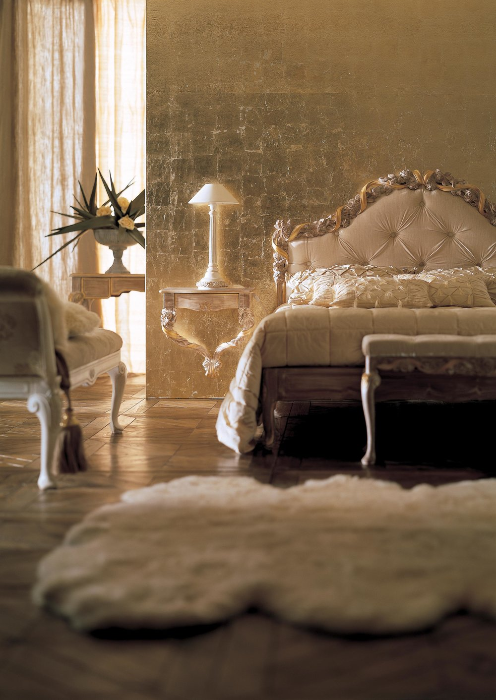 Savio Firmino's most iconic piece, Bed 1696, features the company's signature ribbon-and-roses motif along the edge of the headboard.Photo courtesy of Savio Firmino