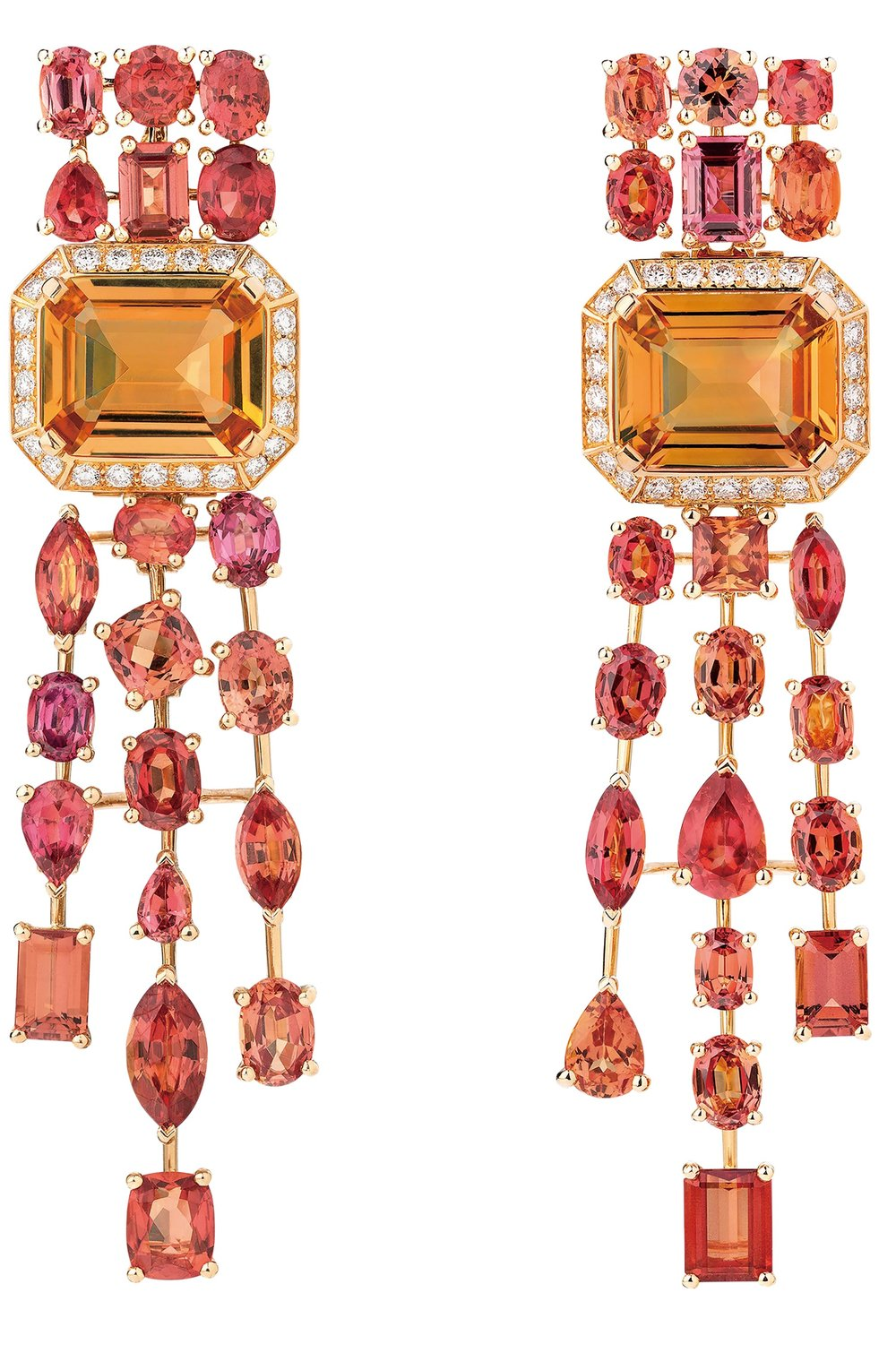 Passionate earrings in 18k yellow gold set with two orange topazes, fancy‑cut sapphires and brilliant‑cut diamonds.  At select CHANEL boutiques, chanel.ca