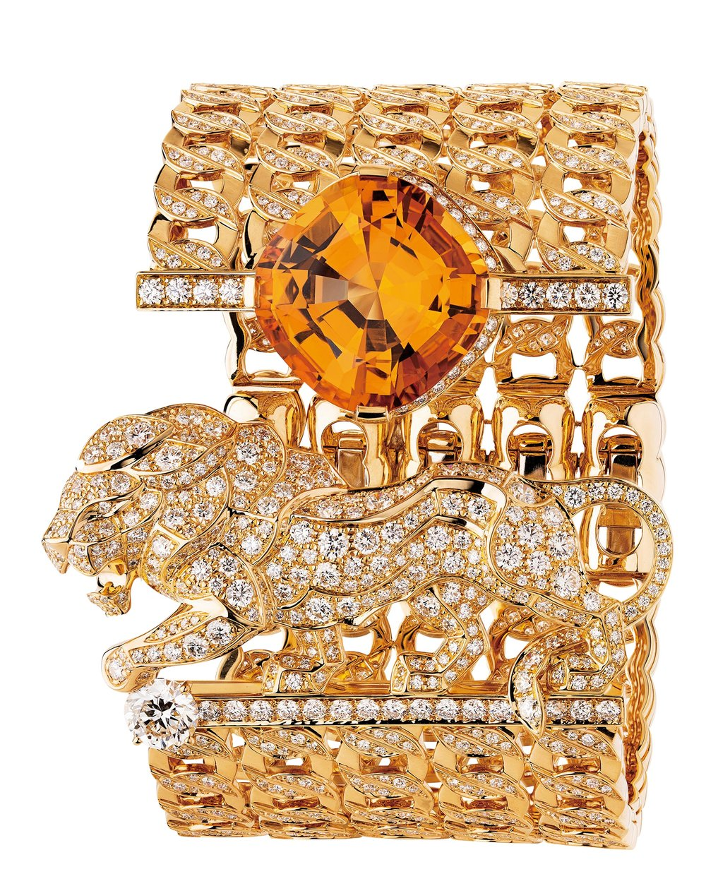 Passionate cuff in 18k yellow gold set with one orange topaz, one round‑cut diamond and brilliant‑cut diamonds.  At select CHANEL boutiques, chanel.ca