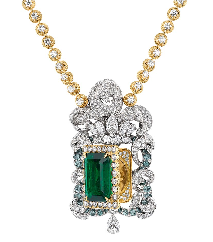 Vanité Emeraude necklace, yellow gold, white gold, diamonds, emerald and colour change garnets.  At select Dior boutiques, (800) 929-DIOR, dior.com