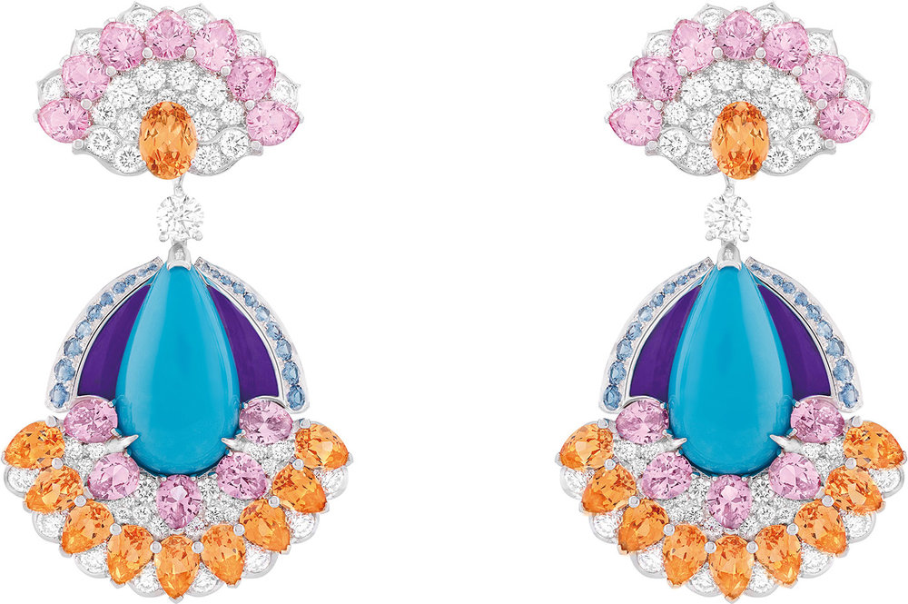 Goutte Azurée earrings featuring diamonds, sapphires, spessartite garnets, spinels, sugilite and turquoise set in 18k white gold.  At Van Cleef & Arpels Vancouver (1069 Alberni Street)  604-699-9354, VanCleefArpels.com