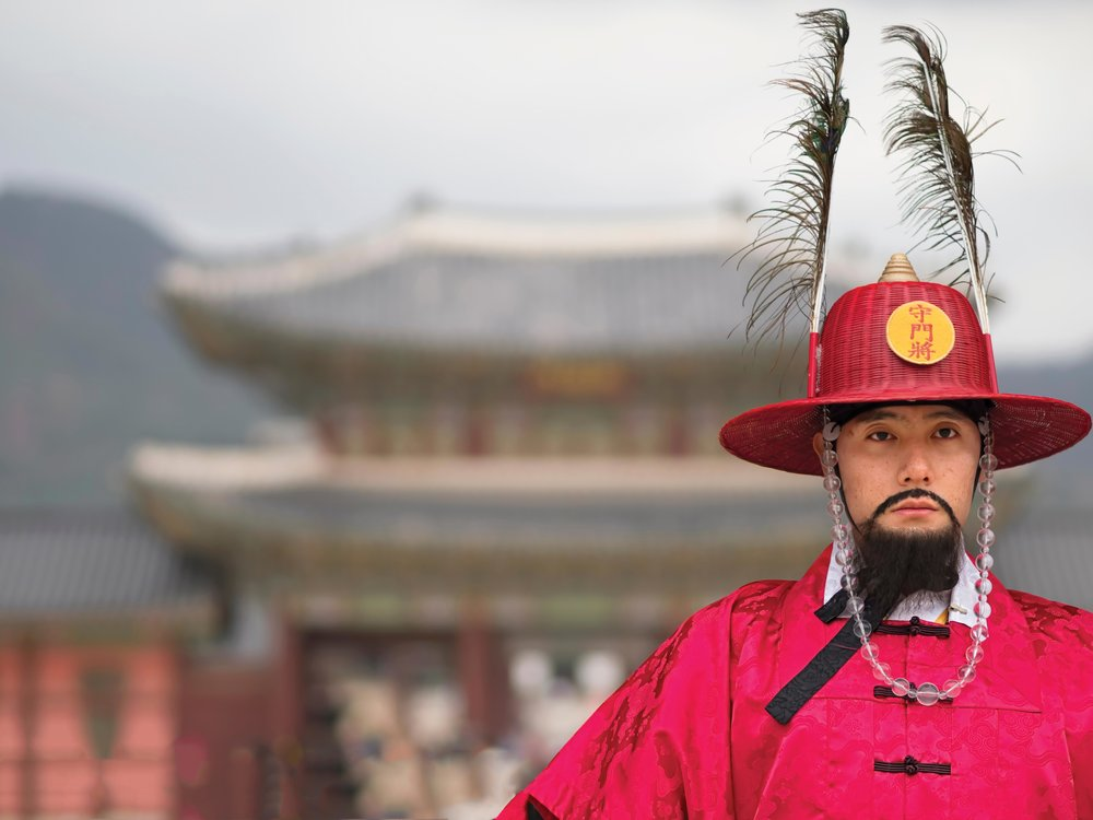 Palace guards, Wanggung Sumunjang, engage in a royal guard-changing ceremony twice daily. zkruger / Shutterstock.com