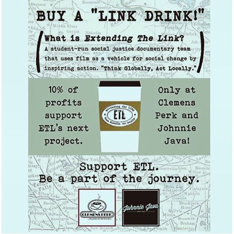 "Need a pick me up to get you through your Sunday study session? Buy a ""link drink"" at Clemens Perk or Johnnie Java throughout the week to support this year's project! #ETLweek2015 #linkdrink ☕️"