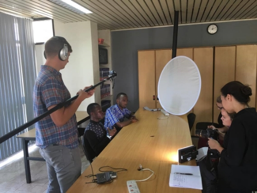 The team conducting interviews with Bridge2Rwanda students.