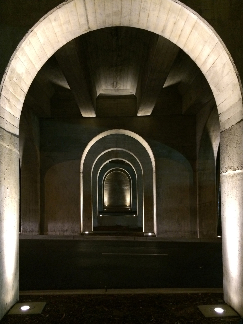 Transverse arches of the bridge with new lighting scheme.