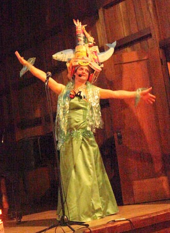 Tim Brandt as canning factory Carmen Miranda at 3 Minute Success Stories
