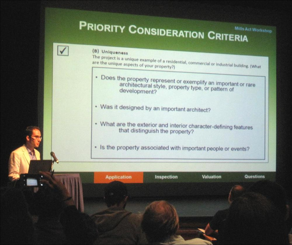 Chattel Senior Associate Shane Swerdlow discusses Priority Consideration Criteria at the 2014 Mills Act Workshop