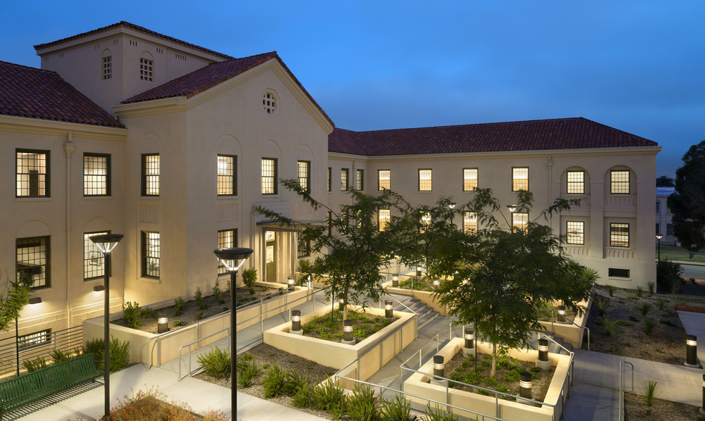 Building 209 at the West Los Angeles Veterans Affairs Medical Center Campus after rehabilitation and seismic upgrade. This view shows the integration of the new ADA accessible ramp with new landscape design.
