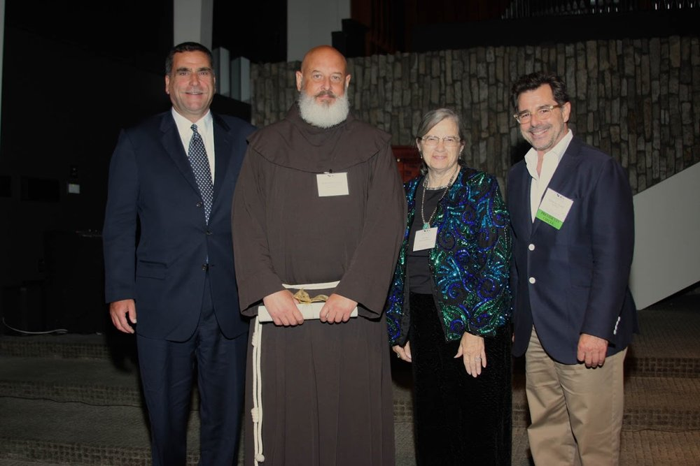 Part of the Mission Santa Barbara Team, left to right: David Bolton, Executive Director of the California Missions Foundation, Brother Brian Trawick, Corporate Secretary for the Franciscan Friars of California, Tina Foss, Museum Director of Old Mission Santa Barbara, and Robert Chattel.