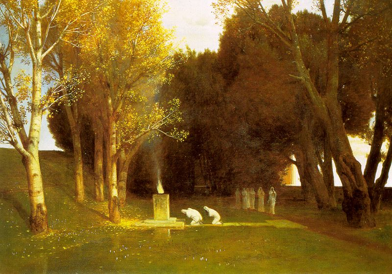Arnold Böcklin: The Sacred Wood. Used as cover for the reissue of the MYSTERIES album, released on Prophecy Productions, September 2014.