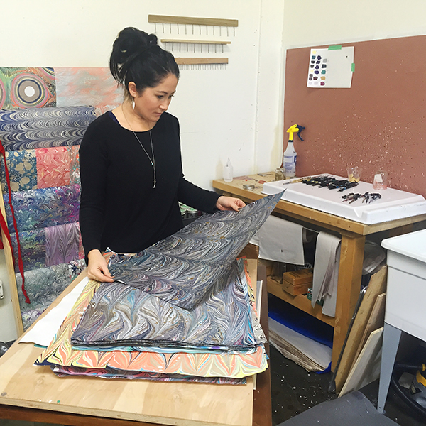 At work in her studio.