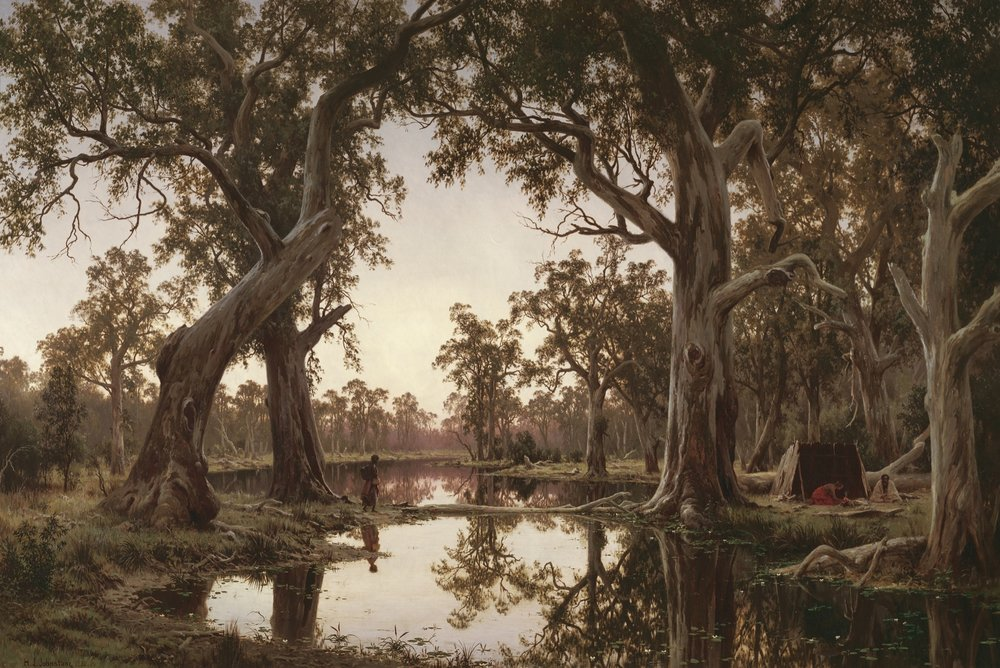 Evening Shadows, Backwater of the Murray, South Australia 1880    121 cm x 180 cm