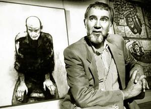 Cress with his 1988 Archibald winning portrait of John Beard