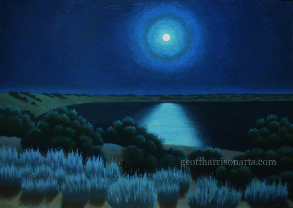 Moonlight Near Roxby Downs                      Oil On Canvas                       101 cm x 142 cm