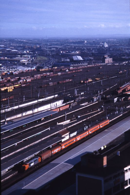 West of Spencer Street viewed from Transport House, 1985
