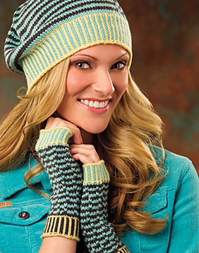 Zig Your Zag Hat & Fingerless Mitts (Creative Knitting Magazine, Fall 2015, featuring Ewe So Sporty): slipped stitches great a fun, optical illusion style pattern on the mitts and matching beanie.