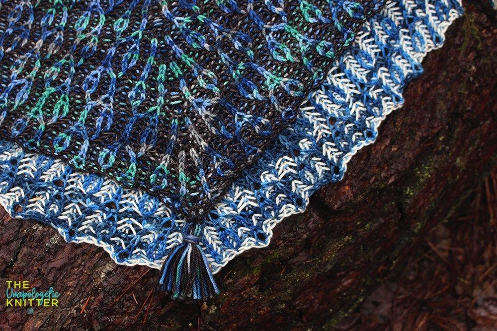 Kelp Garden - brioche triangle knit shawl pattern