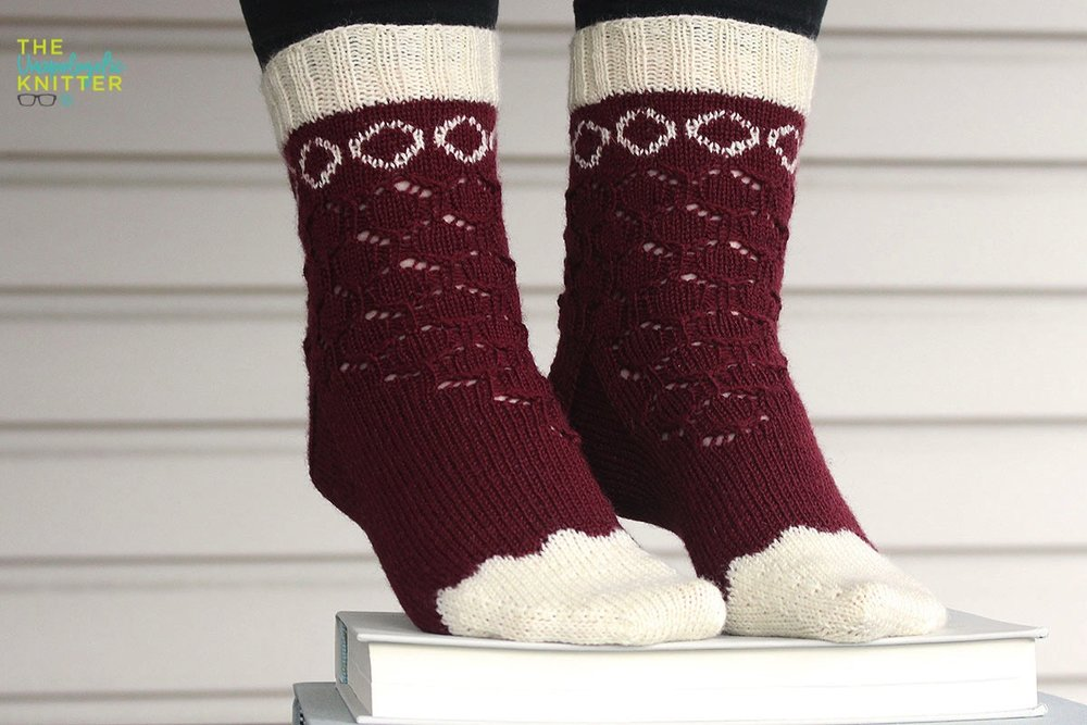 2-color cuff down socks with modified mosaic colorwork and a lace motif to match!