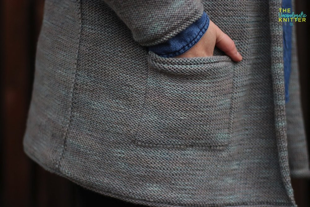A hand-knit casual cardigan worked in reverse stockinette with minimal finishing.