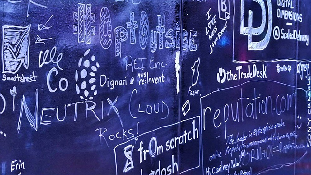 Artwork and company shout-out on the big re:Invent board courtesy of Alex Halili - Dignari Solutions Architect