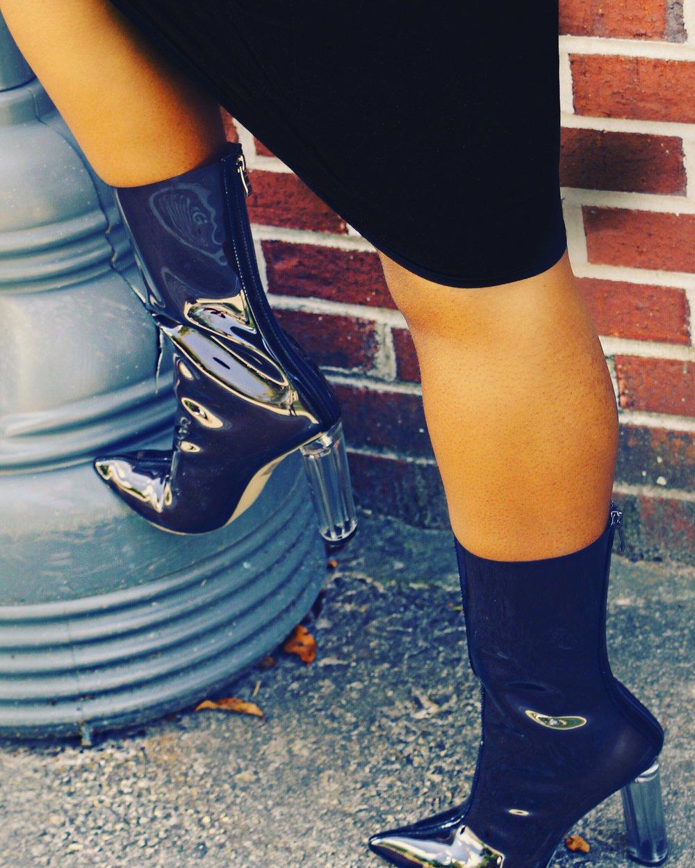 Briella Perspex Ankle Boots -Public Desire