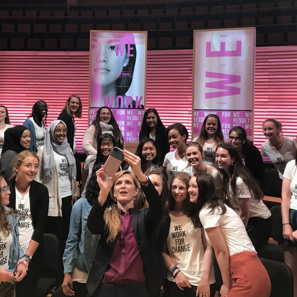 Former UN Ambassador Samantha Power made time to take photos with Women's Foundation's Girls Leadership members after her keynote address.