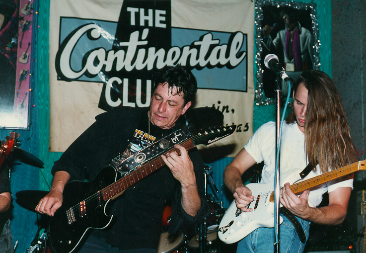 Joe Ely and Ian Moore onstage in '92