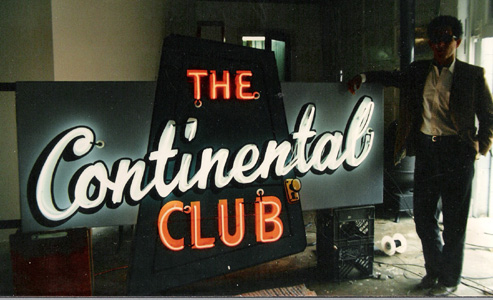 Steve Wertheimer and the restored Continental sign, ready to be installed in 87