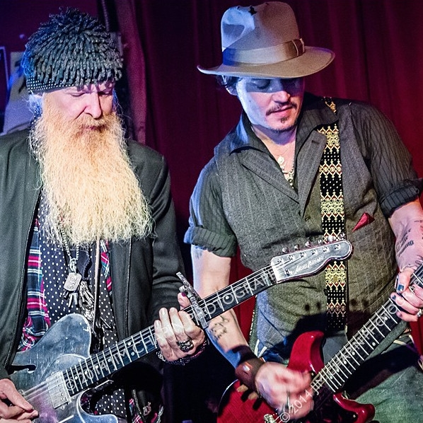Billy F Gibbons and Johnny Depp onstage at the Continental Club